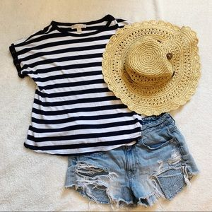 Michael Kors Blue & White Striped Top
